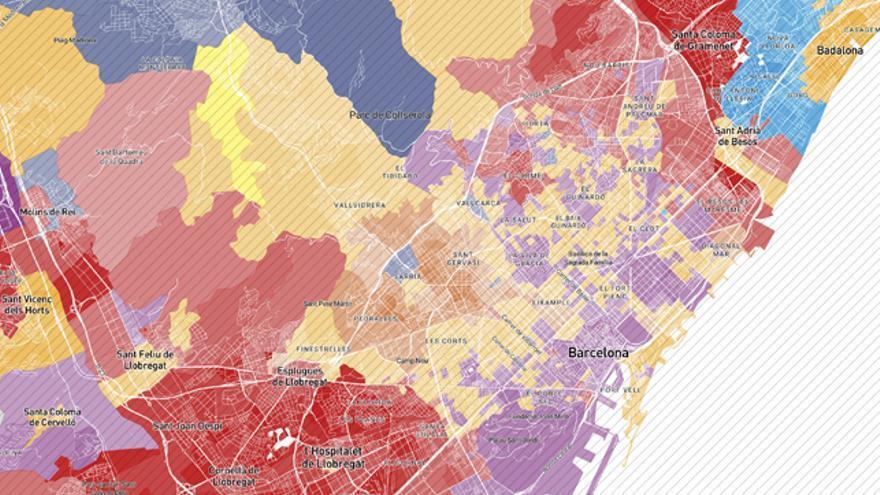 Mapa de Barcelona según el ganador de cada sección censal en las municipales del 26M