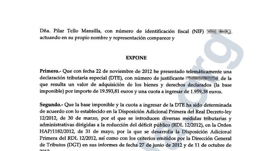 Documento explicativo de la Declaración Tributaria Especial (DTE) presentada por Isabel Fernández de la Mora