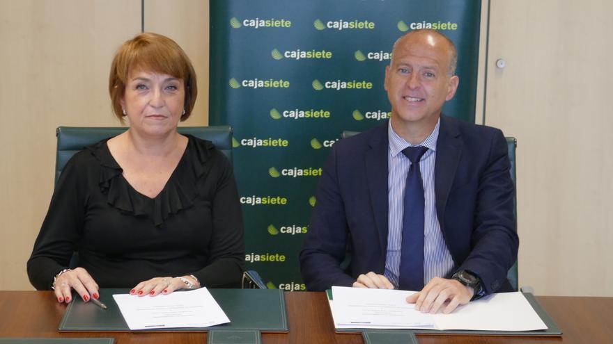 Manuel del Castillo, de Cajasiete, y María Gracia Zamorano, de Avalcanarias, en la firma del convenio