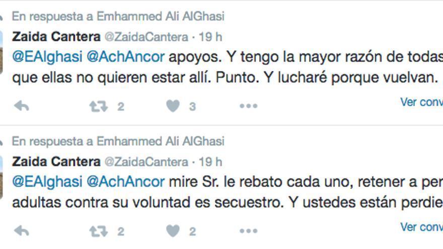 Tweet de Zaida Cantera