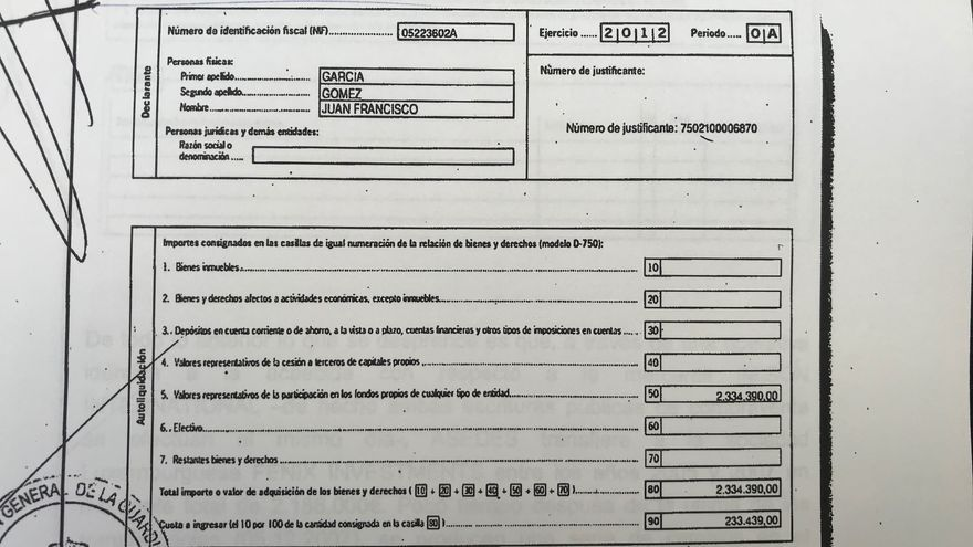 Autoliquidación presentada para acogerse a la amnistía fiscal de Juan Francisco García Gómez.