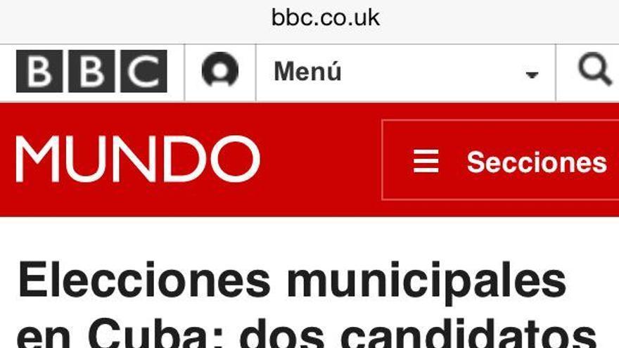 Noticia de BBC Mundo sobre las elecciones minucipales en Cuba.