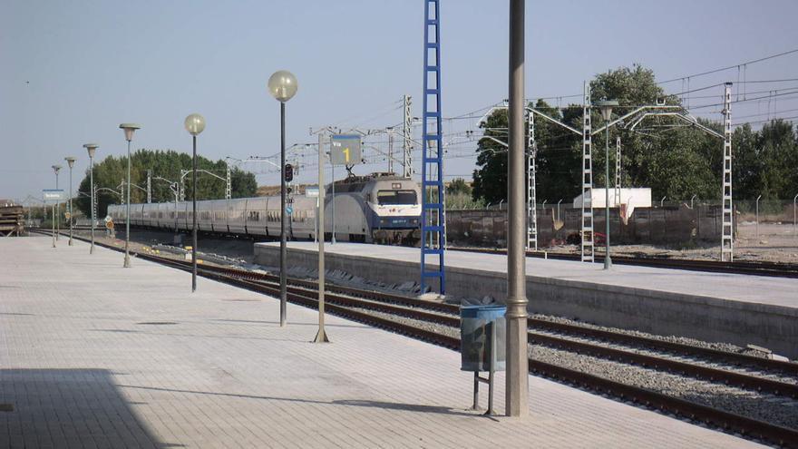 Un tren Talgo a sus paso por Tardienta, una imagen remitida por Roberto Ramos.