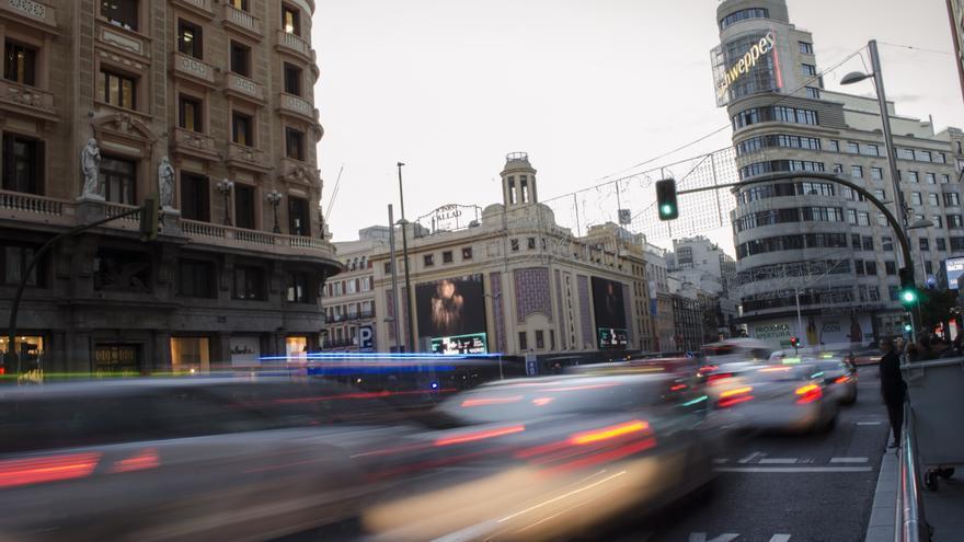 La Gran Vía de Madrid durante el corte de tráfico en el puente de diciembre.