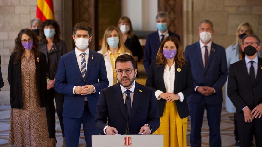 Aragonès, junto al Govern, en su comparecencia tras los indultos