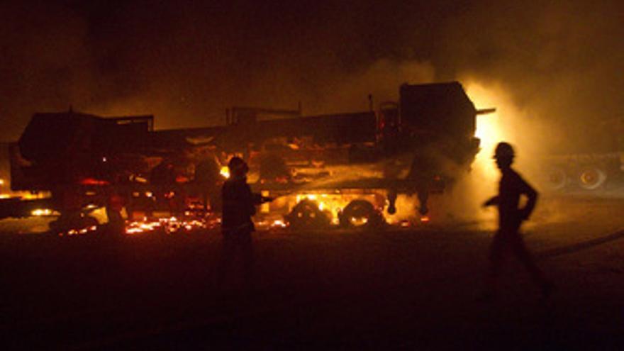 Ataque contra un convoy de la OTAN. (EUROPA PRESS)