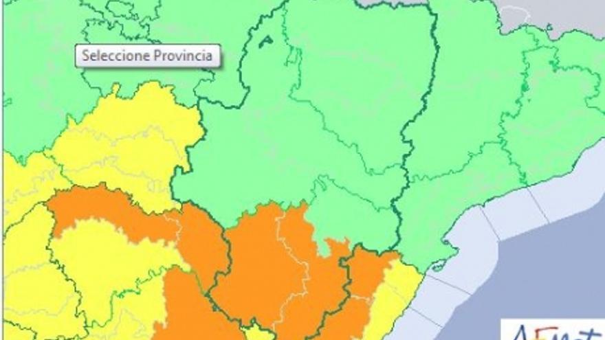 El mayor riesgo comenzará a las 13:00 horas en las zonas de Albarracín, Jiloca, Gúdar y Maestrazgo