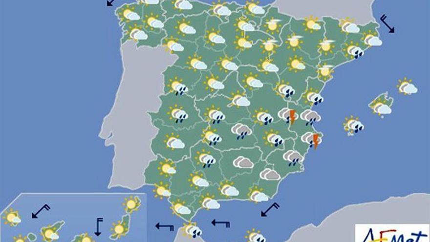 Hoy, posibles chubascos locamente fuertes en extremo sureste peninsular
