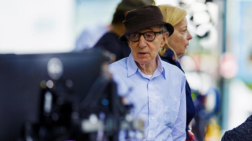 Woody Allen en el rodaje de Rifkin's Festival