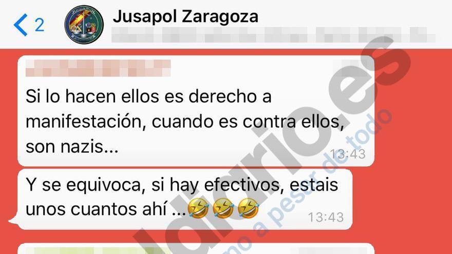 Pantallazo de la conversación en el grupo Jusapol Zaragoza