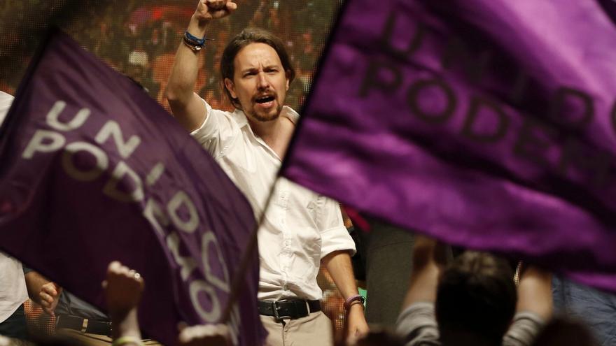 Pablo Iglesias, en la noche electoral del 26 de junio en la plaza del Reina Sofía.