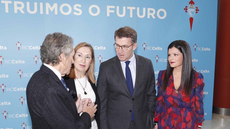 Los presidentes del Celta y la Xunta, la presidenta del Congreso y la alcaldesa de Mos en la presentación de la ciudad deportiva del club