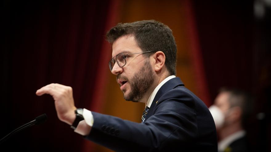 El president de la Generalitat, Pere Aragonès, interviene en el Parlament. ARCHIVO.