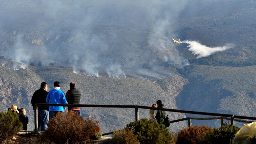 El incendio de Berja (Almería) calcina 400 hectáreas de encinar, pinar y matorral