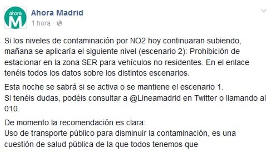 Ahora Madrid recomienda a los madrileños utilizar el transporte público a través de las redes sociales