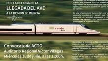 Cartel que anuncia la manifestación contra la llegada del AVE en 2020