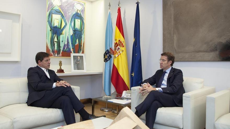 Reunión de Besteiro y Feijóo en el despacho del presidente de la Xunta
