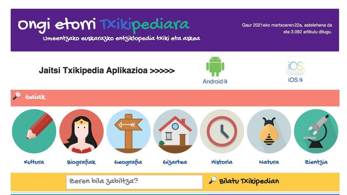 La Txikipedia está dirigida a los estudiantes de entre 8 y 12 años