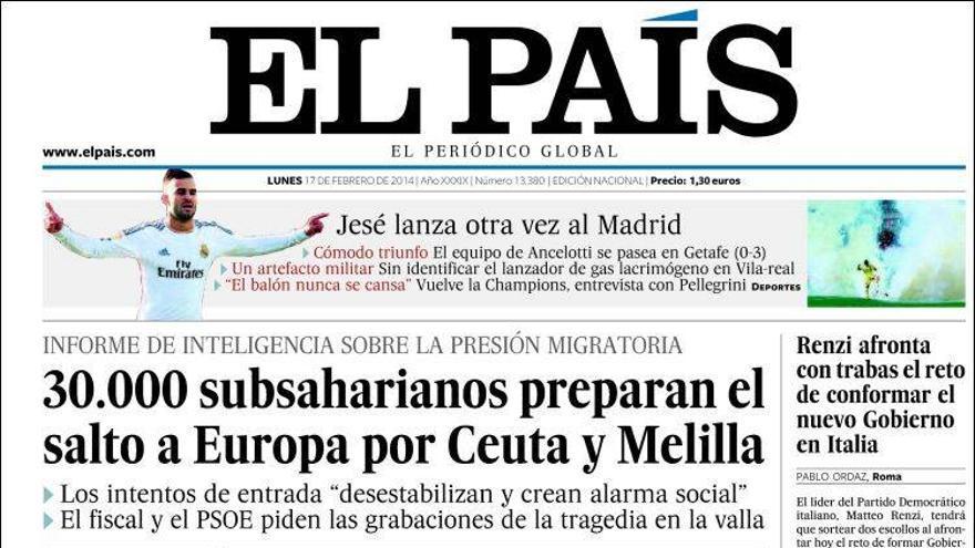 Portada El País 17 febrero 2014