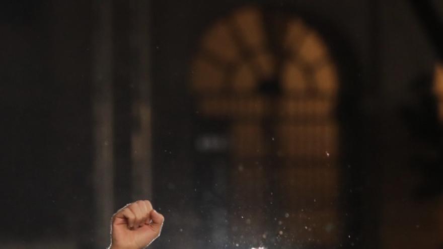 Pablo Iglesias, en el acto de su regreso en el Reina Sofía.