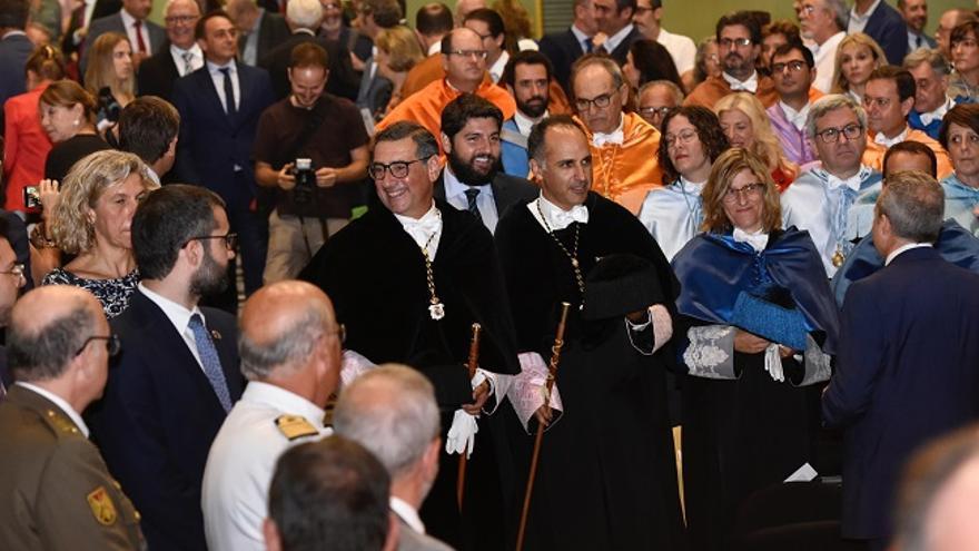 Los rectores de la Universidad de Murcia y la Universidad Politécnica de Cartagena junto al presidente de la Región de Murcia