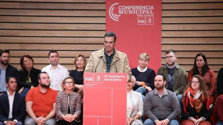 El presidente del Gobierno, Pedro Sánchez, durante la conferencia municipal organizada por el PSOE de Gran Canaria