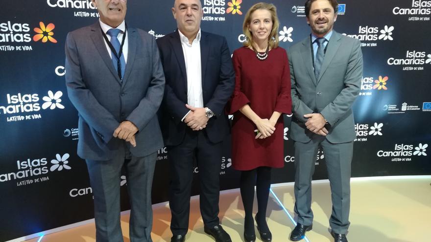 Los responsables de las cuatro patronales hoteleras de Canarias, con Jorge Marichal a la derecha