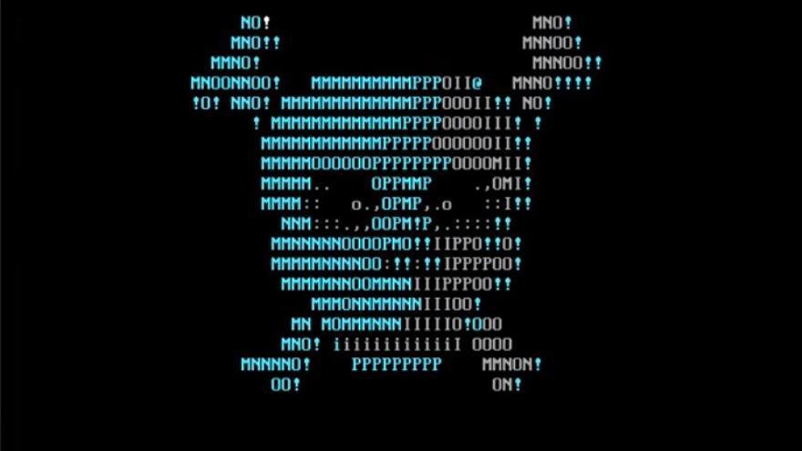 Imagen en la pantalla que muestra el troyano Bones, diseñado para MS-DOS (Wikimedia Commons).