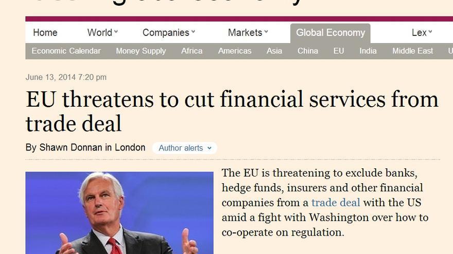 La noticia de la filtración del documento de las negociaciones en el FT.