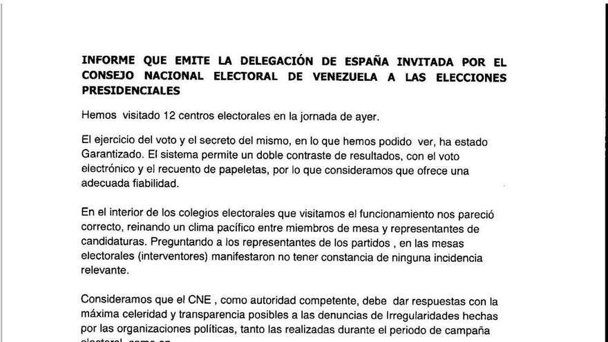Informe de la delegación española invitada a las elecciones en Venezuela