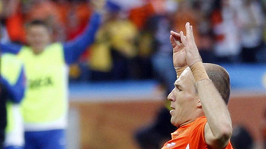 Robben celebra el 1-0.