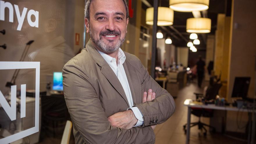 El candidat Jaume Collboni a la seu electoral del PSC de Barcelona / ENRIC CATALÀ
