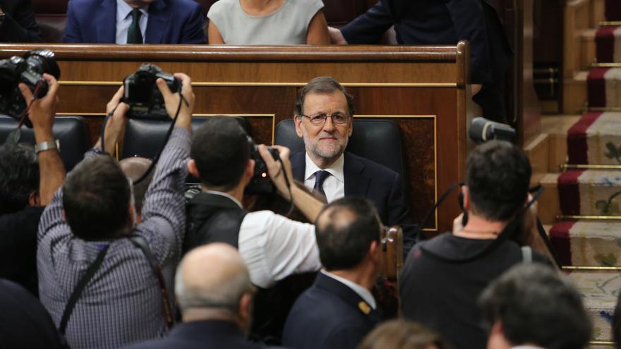 Mariano Rajoy, en los instantes previos a la segunda jornada de investidura del 29 de octubre.   Foto de Marta Jara