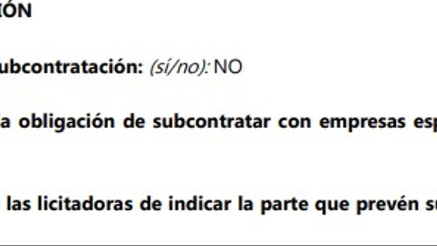 Pliego de condiciones del concurso de carpas de la exposición de Gogora, apartado sobre subcontratación