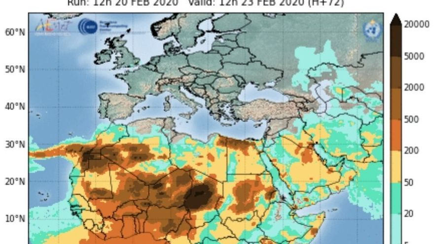 Predicción del polvo en suspensión para el día de hoy realizado por el Centro Nacional de Supercomputación de Barcelona