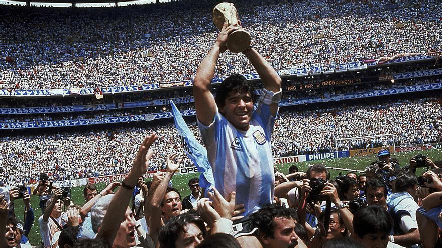 Diego Armando Maradona en una imagen del Mundial de México 1986