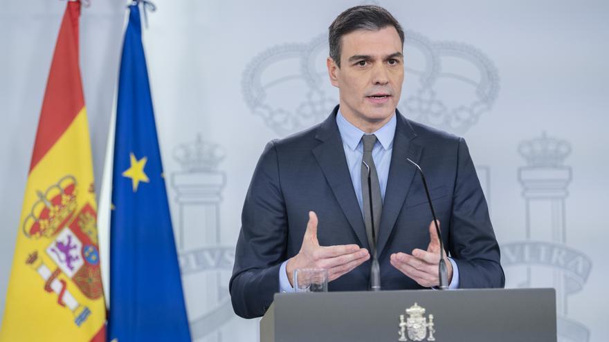 Pedro Sánchez durante su comparecencia este sábado.