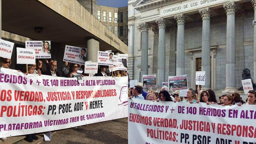 Protestas de víctimas de Angrois ante el juzgado y ante el Congreso de los Diputados