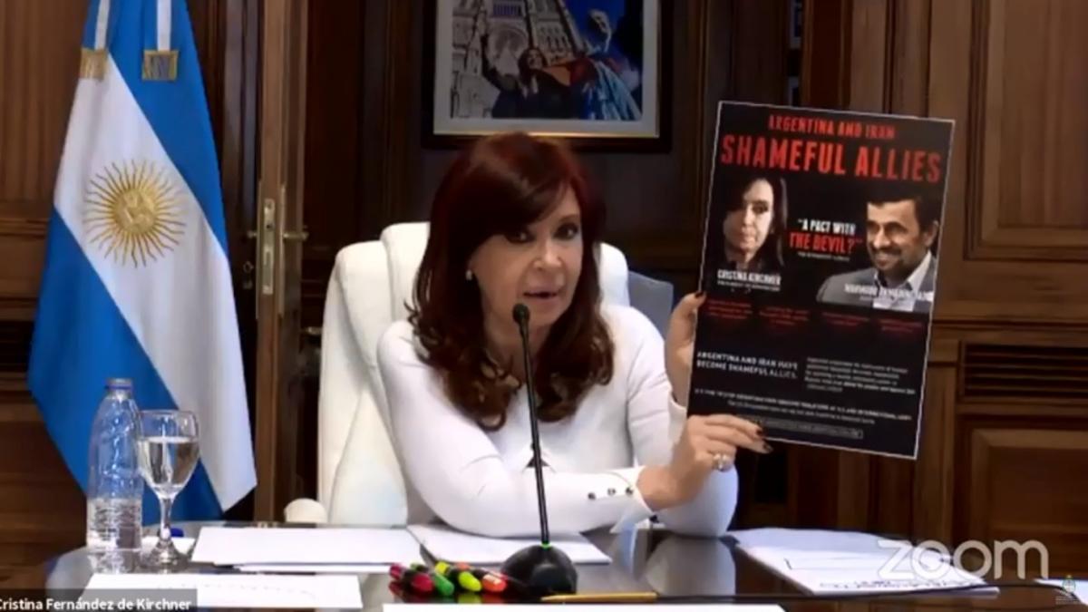 La vicepresidenta Cristina Fernández de Kirchner, en su exposición ante el TOF 8, el 16 de julio de 2021.