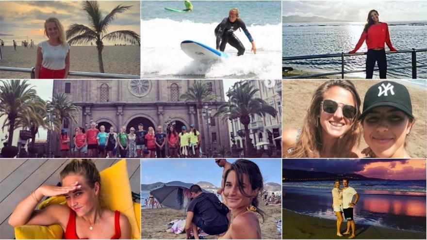 Algunas de las fotos elegidas por las tenistas para sus perfiles en Instagram