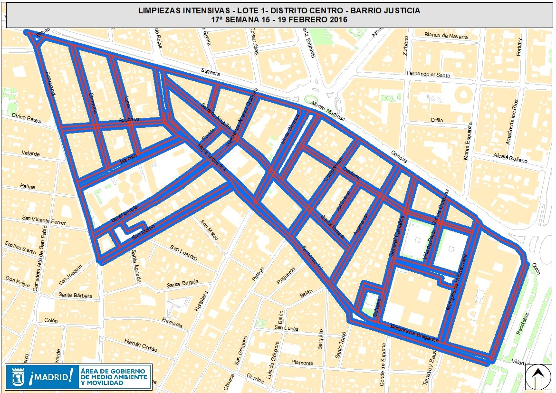 Zona afectada por la limpieza intensiva del 15 al 19 de febrero | AYUNTAMIENTO DE MADRID