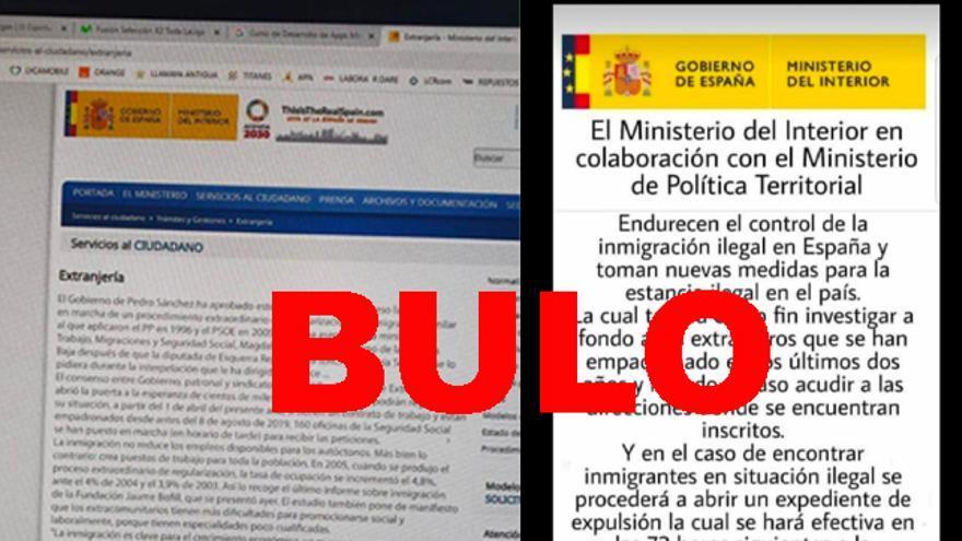 Comunicados falsos del Ministerio del Interior