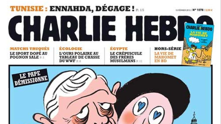 Portada de Charlie Hebdo dedicada a la renuncia de Ratzinger