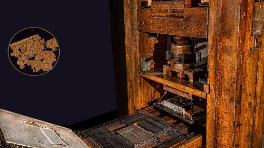Primera imprenta de Gutenberg.