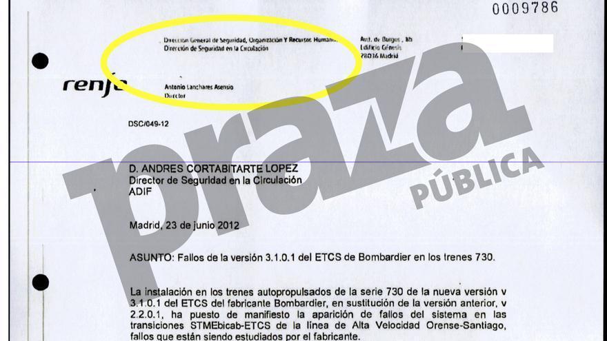 Correo de Lanchares (Renfe) a Cortabitarte (Adif) pidiendo permiso para desconectar el sistema de seguridad en los Alvia