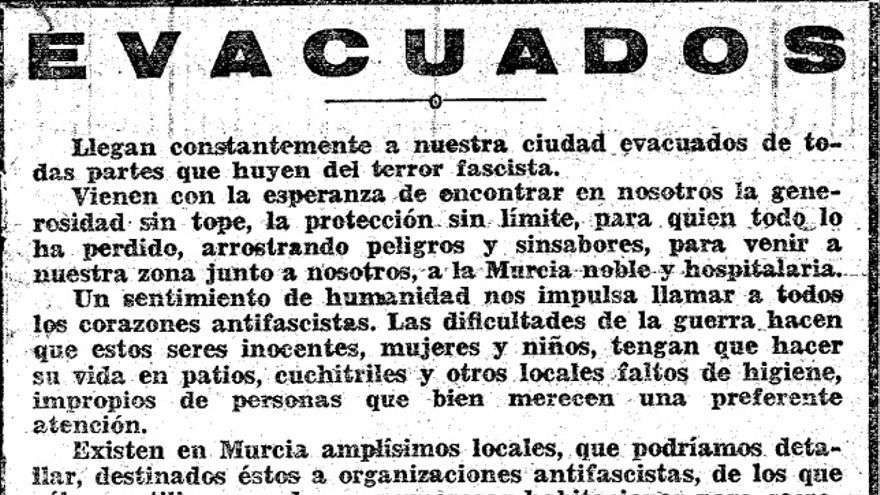 El 1 de julio de 1938 el periódico 'El Liberal' informaba de la llegada de numerosos refugiados de guerra a Murcia