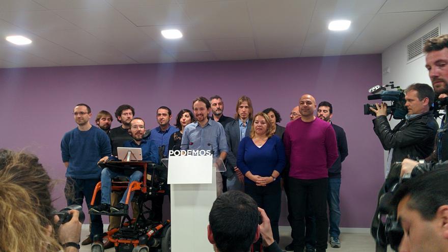 Pablo Iglesias, Pablo Echenique y algunos secretarios regionales de Podemos.