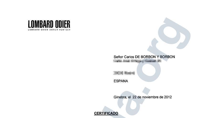 Certificado de titularidad de Carlos de Borbón de una cuenta en el banco suizo Lombard Odier en el que aparece como beneficiario