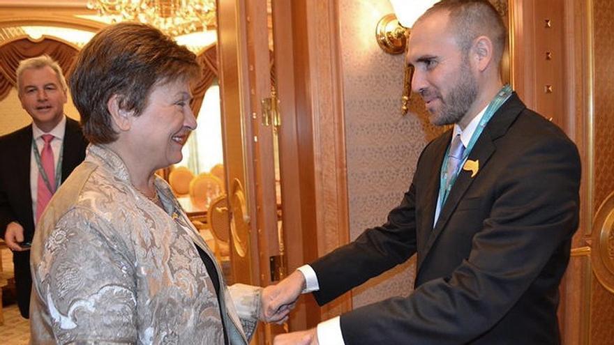 Martín Guzmán, ministro de Economía, con Kristalina Georgieva, directora gerente del FMI