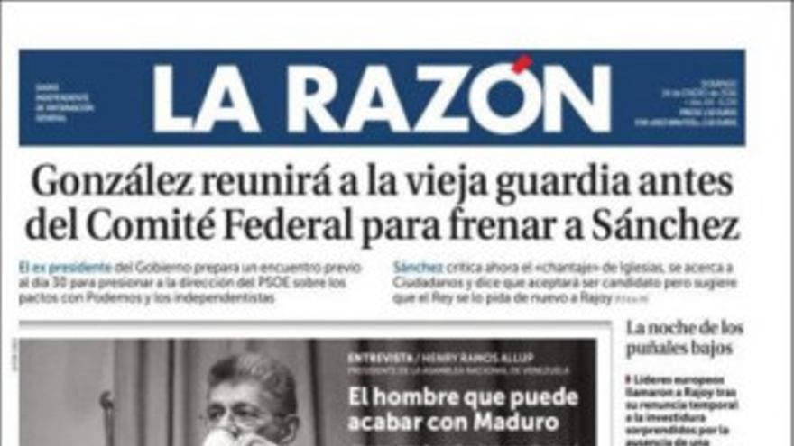 La Razón, portada enero 2016